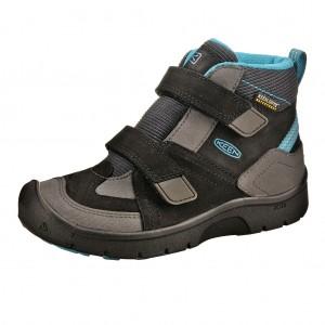 Dětská obuv KEEN Hikeport MID strap WP  /black/blue jewel - Boty a dětská obuv