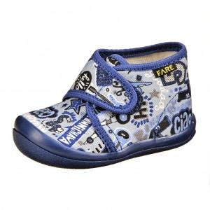 Dětská obuv FAREčky   /modré na suchý zip -  Na doma a do škol(k)y
