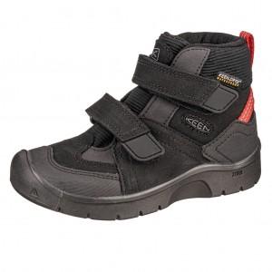Dětská obuv KEEN Hikeport MID strap WP  /black/bright red -  Celoroční