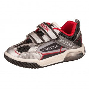 Dětská obuv GEOX J Inek B  silver/black - Boty a dětská obuv